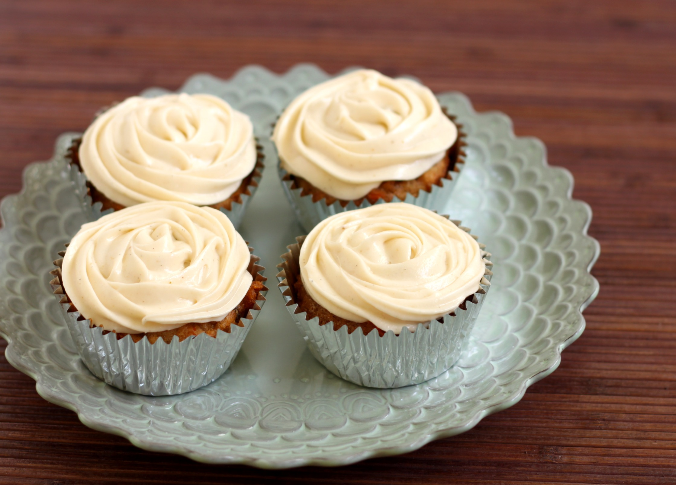 Moist Carrot Cake Cupcakes with Cardamom Cream Cheese Frosting