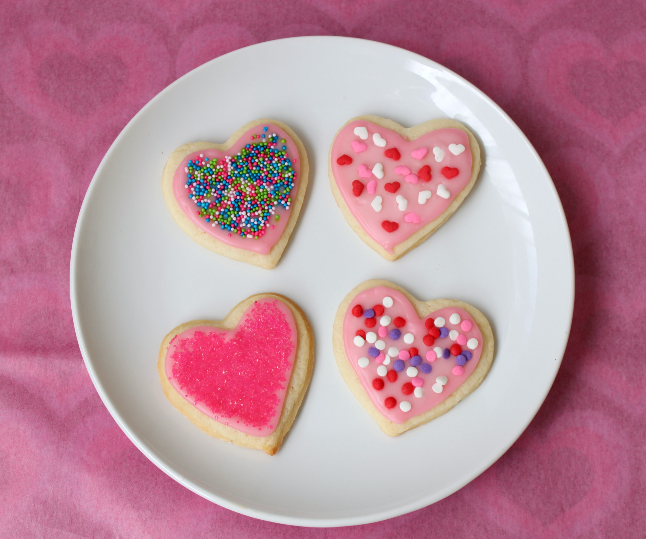 Heart sugar cookies with different sprinkles
