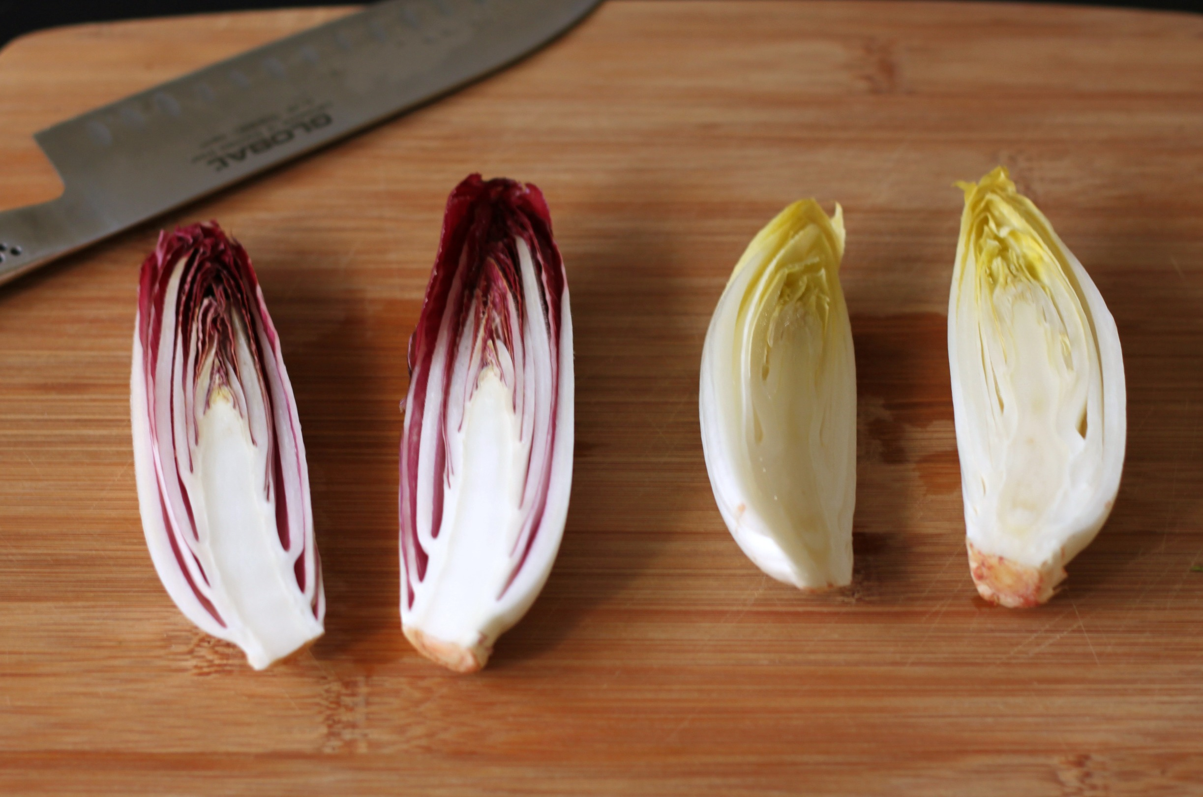 Slice endives in half lengthwise