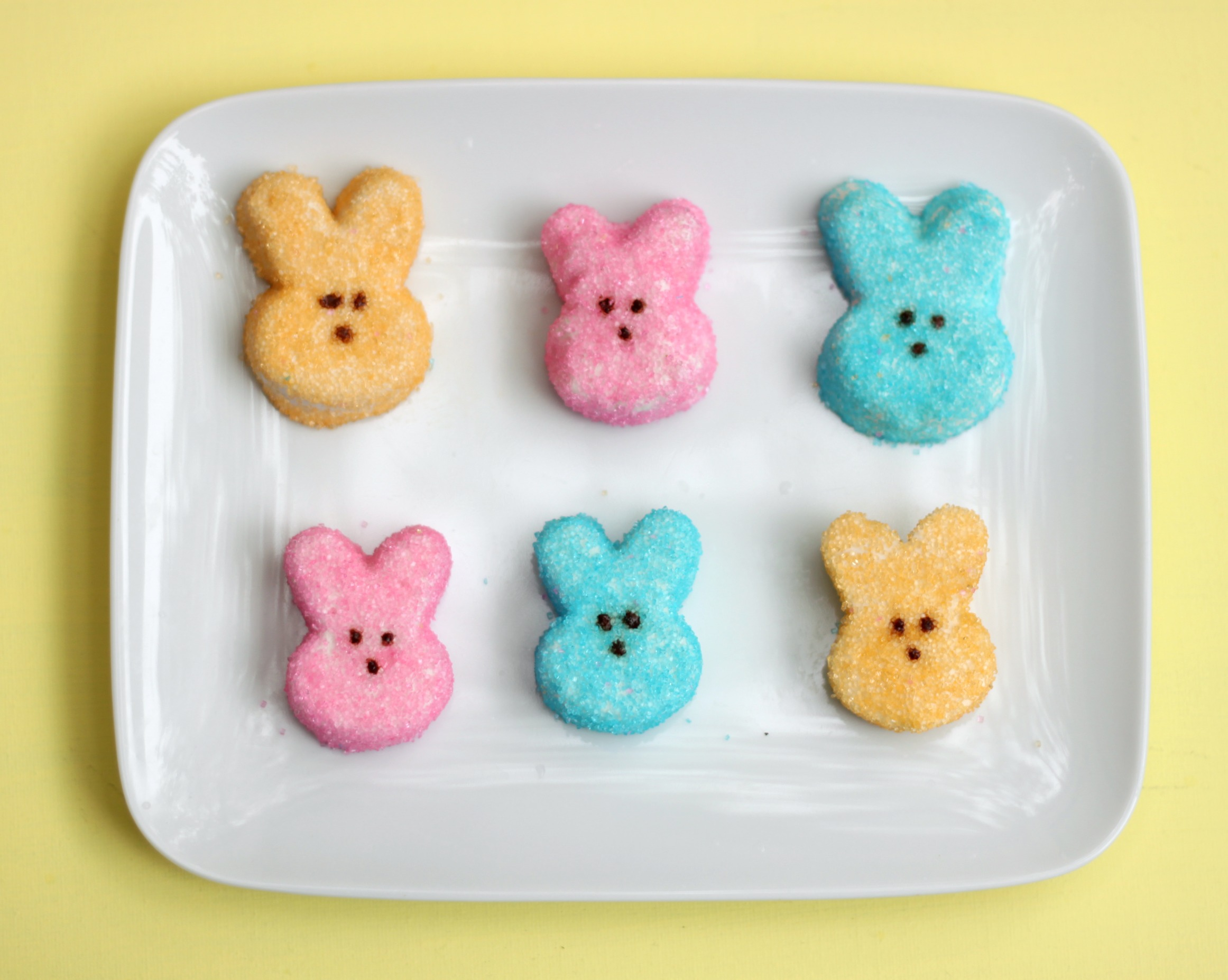 Homemade marshmallow peeps yellow pink blue