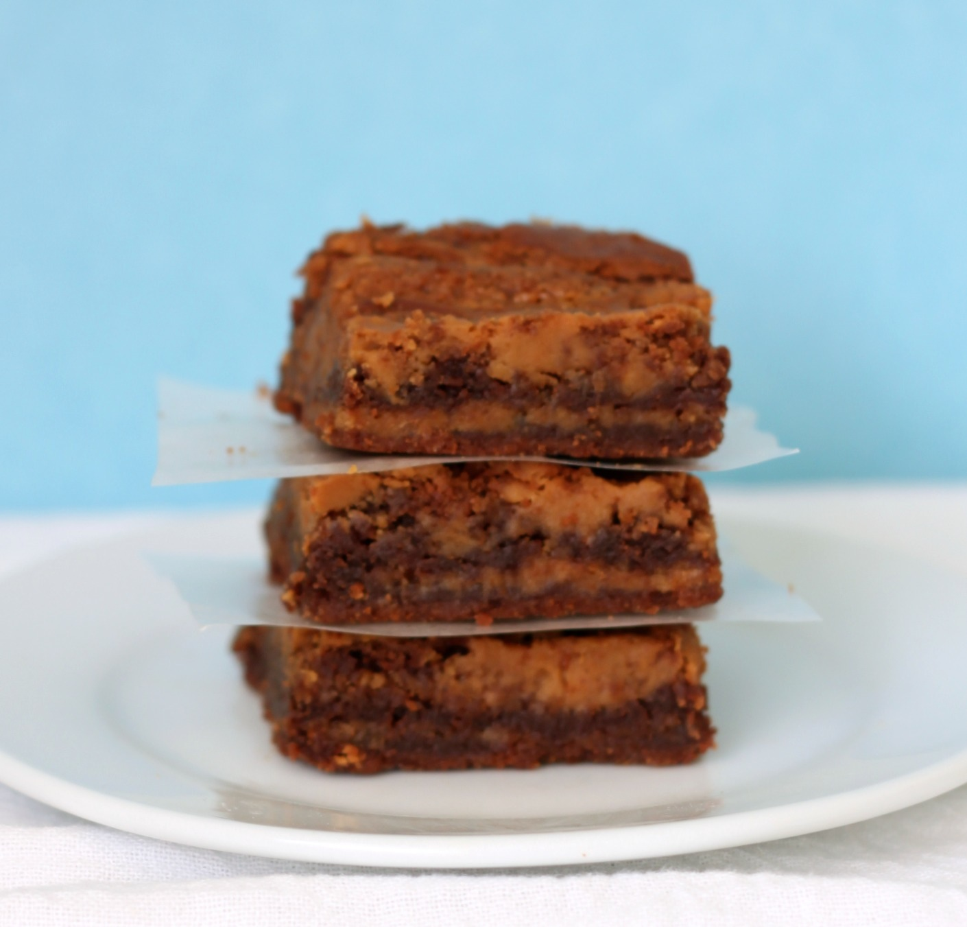 Nutella peanut butter brownies stacked 1 cropped