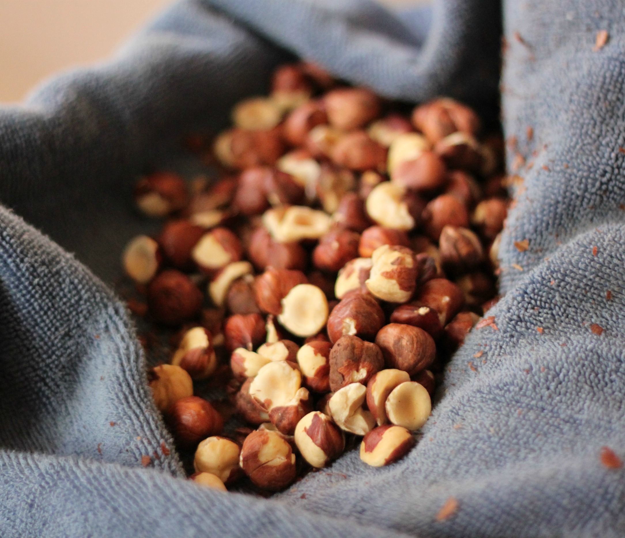 Roasted hazelnuts in kitchen towel