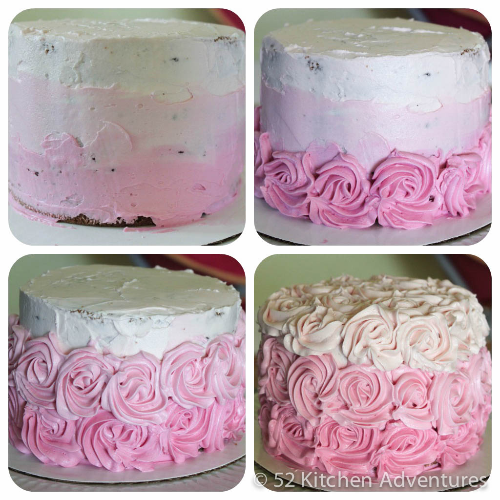 All natural pink ombre rose cake (no food dye!)