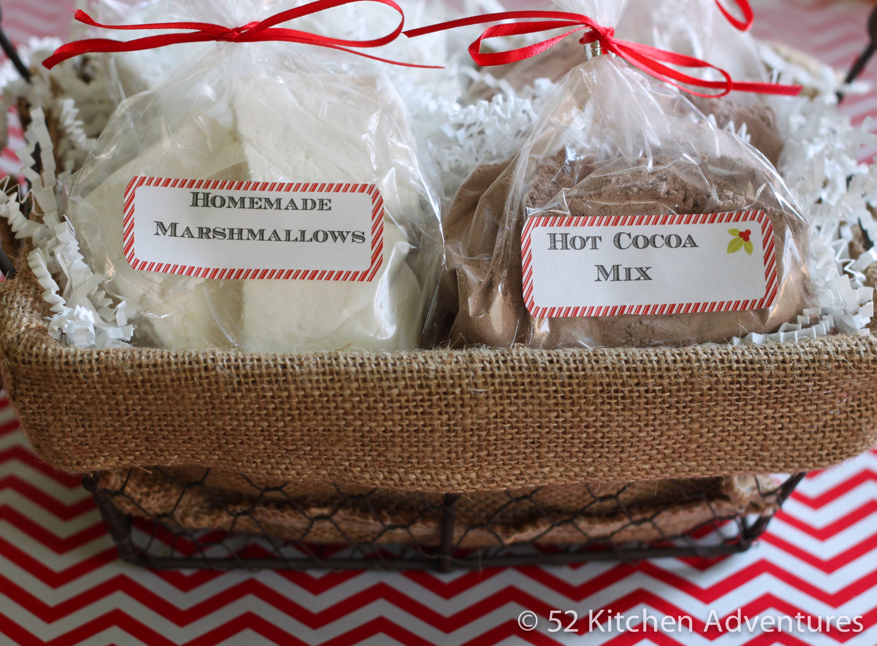 DIY Hot Cocoa Mix and Marshmallows in basket
