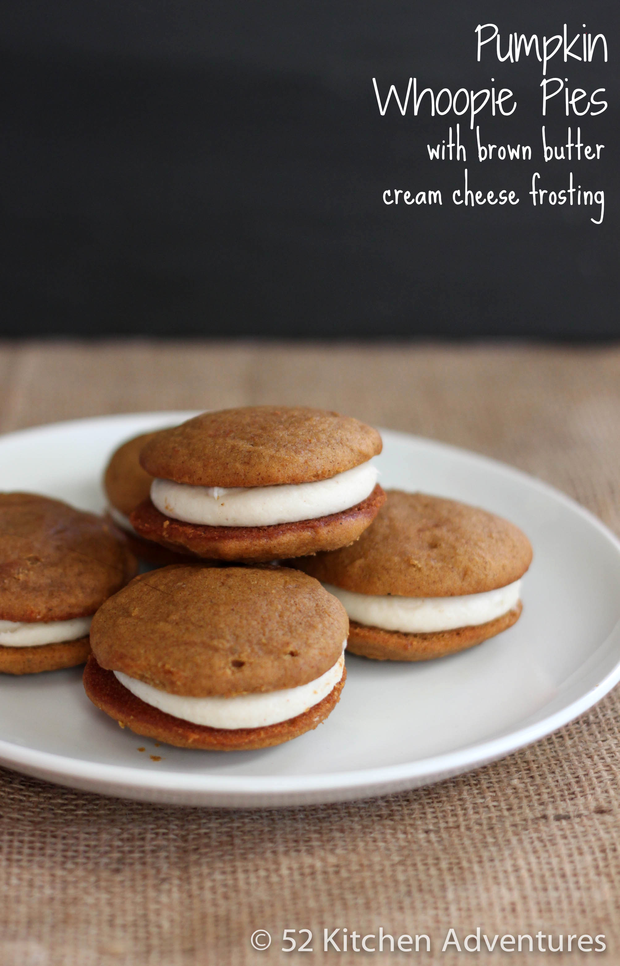 Pumpkin Whoopie Pies with Brown Butter Cream Cheese Frosting