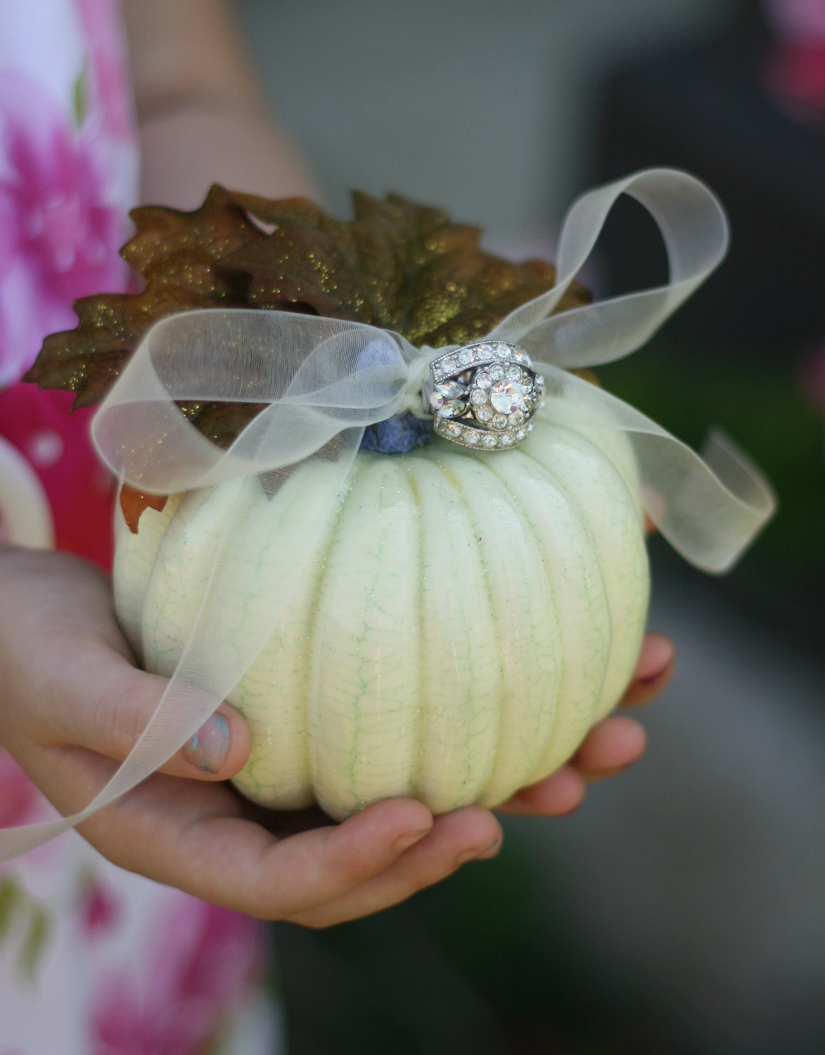 White pumpkin ring bearer pillow