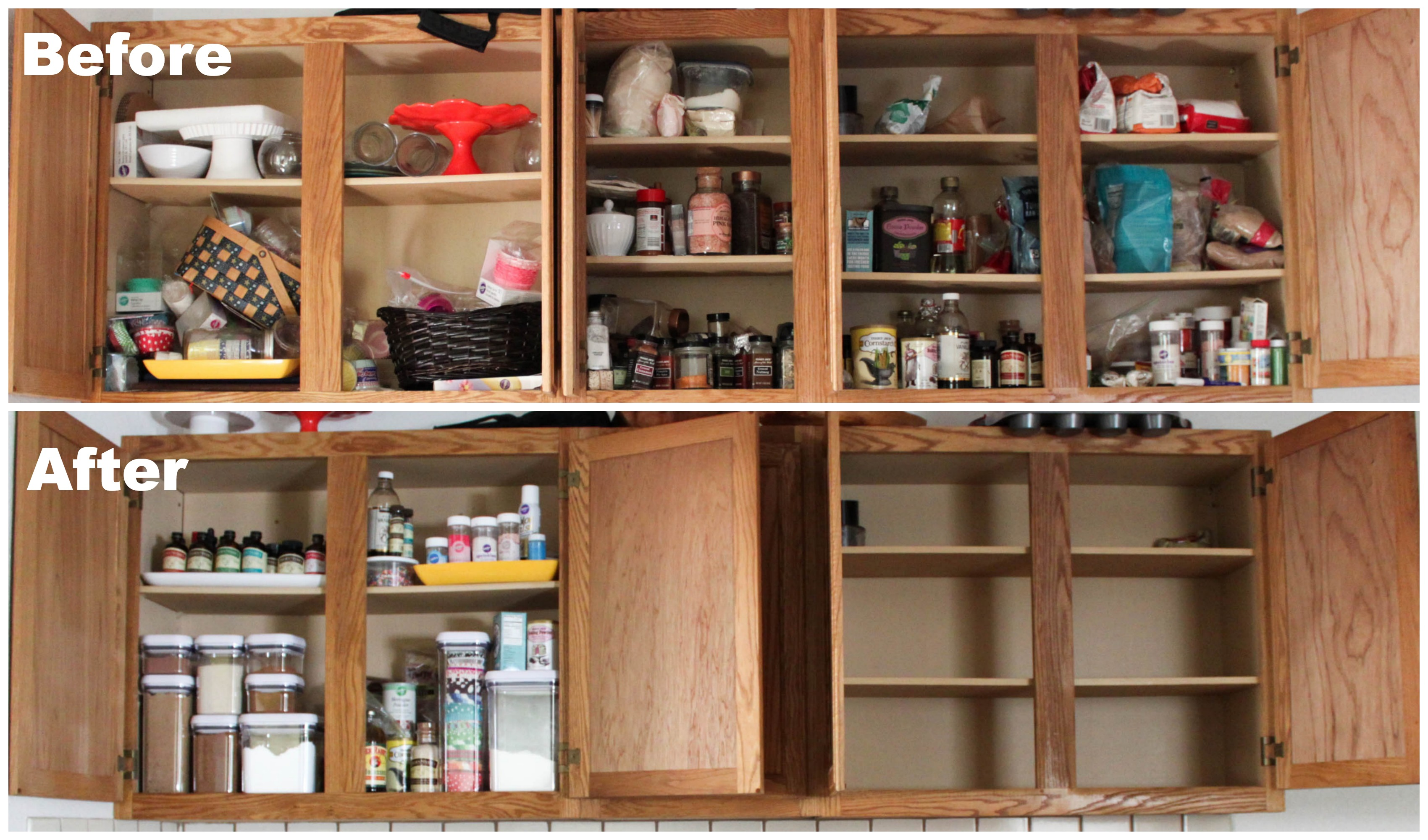 Before and after - get 5 easy tips to organize your baking supplies