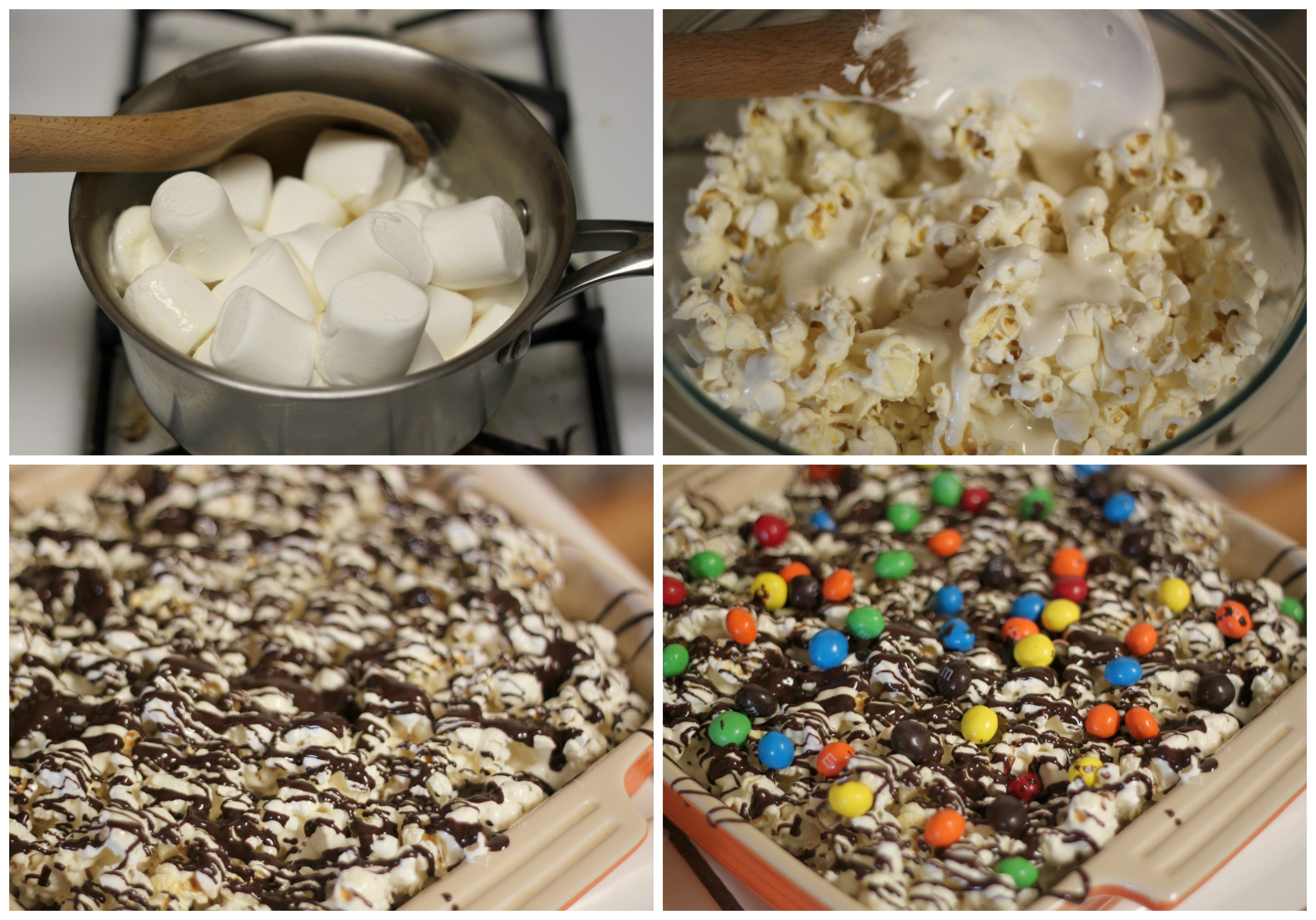 Melt marshmallows and butter together, then mix with popcorn. Press it into a buttered dish, drizzle with chocolate, M&M'S, and sprinkles. That's it!