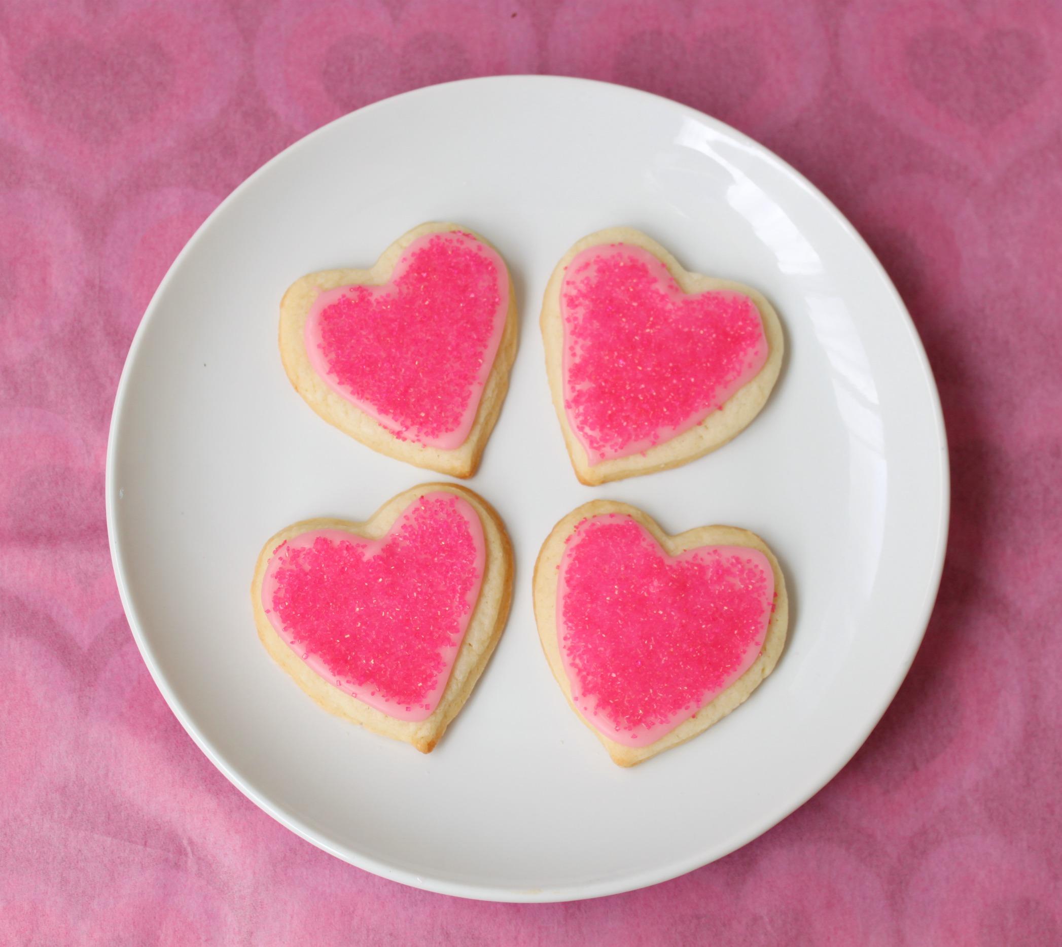 Heart sugar cookies with pink sprinkles 2