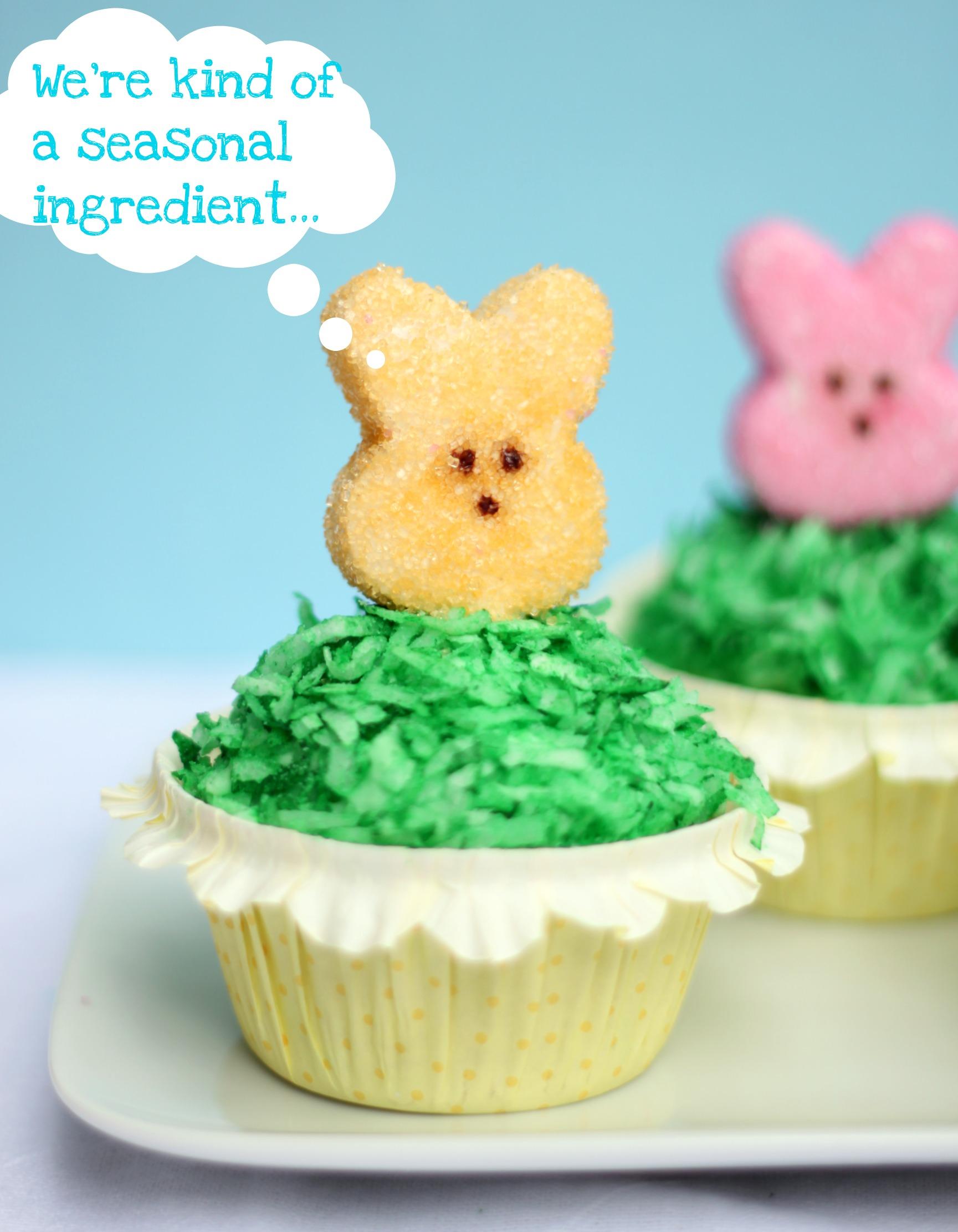 Cupcakes with homemade peeps seasonal ingredient