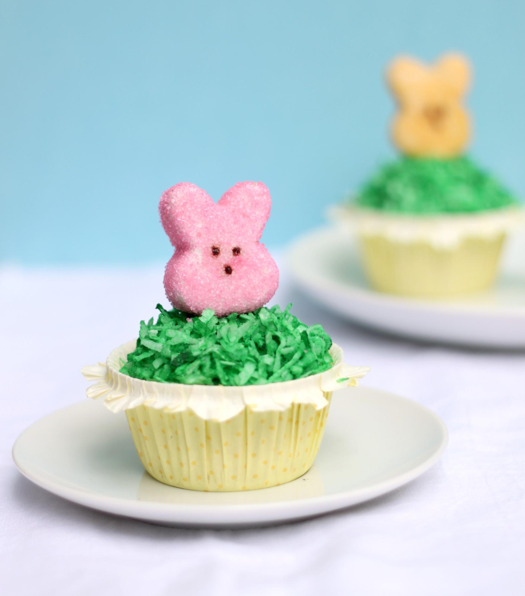 Cupcake with homemade pink marshmallow peep