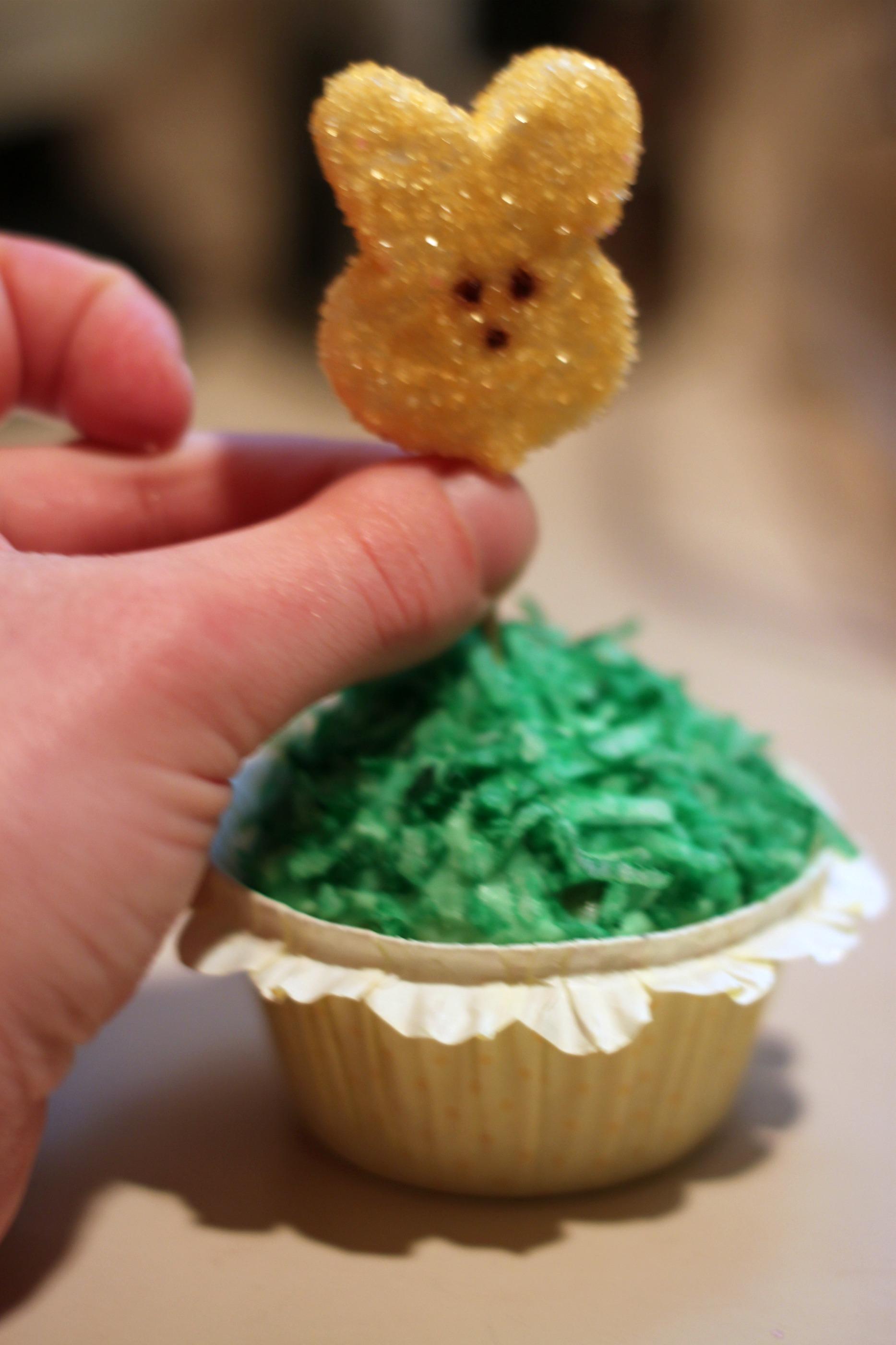 Push Peep into cupcake