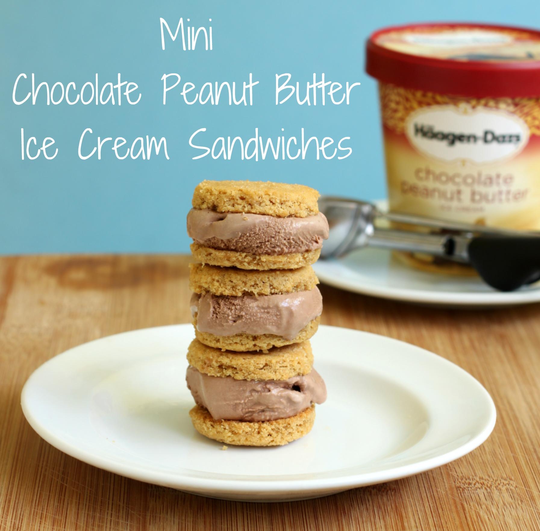 Mini peanut butter chocolate ice cream sandwiches