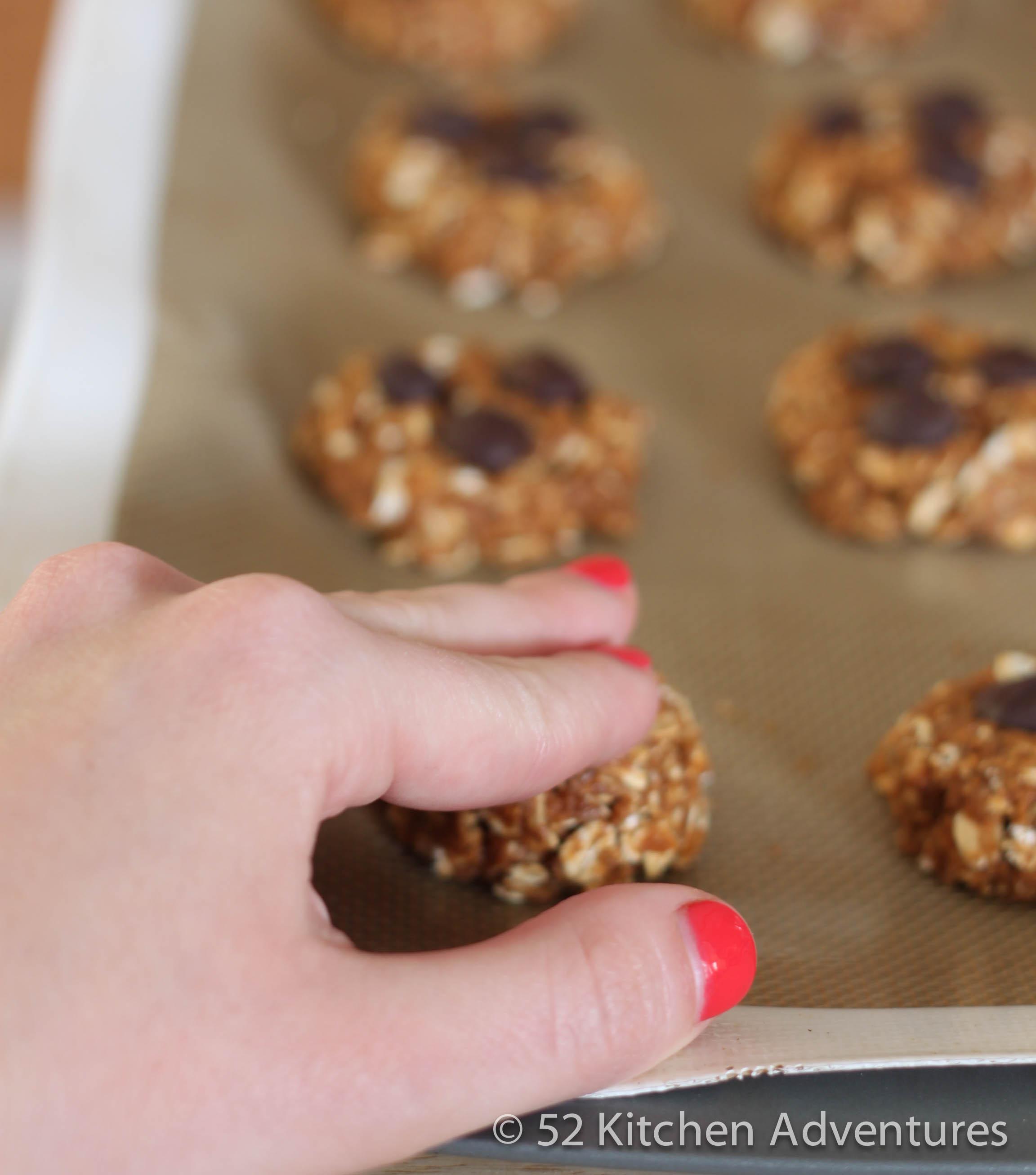 Pat cookie dough flat