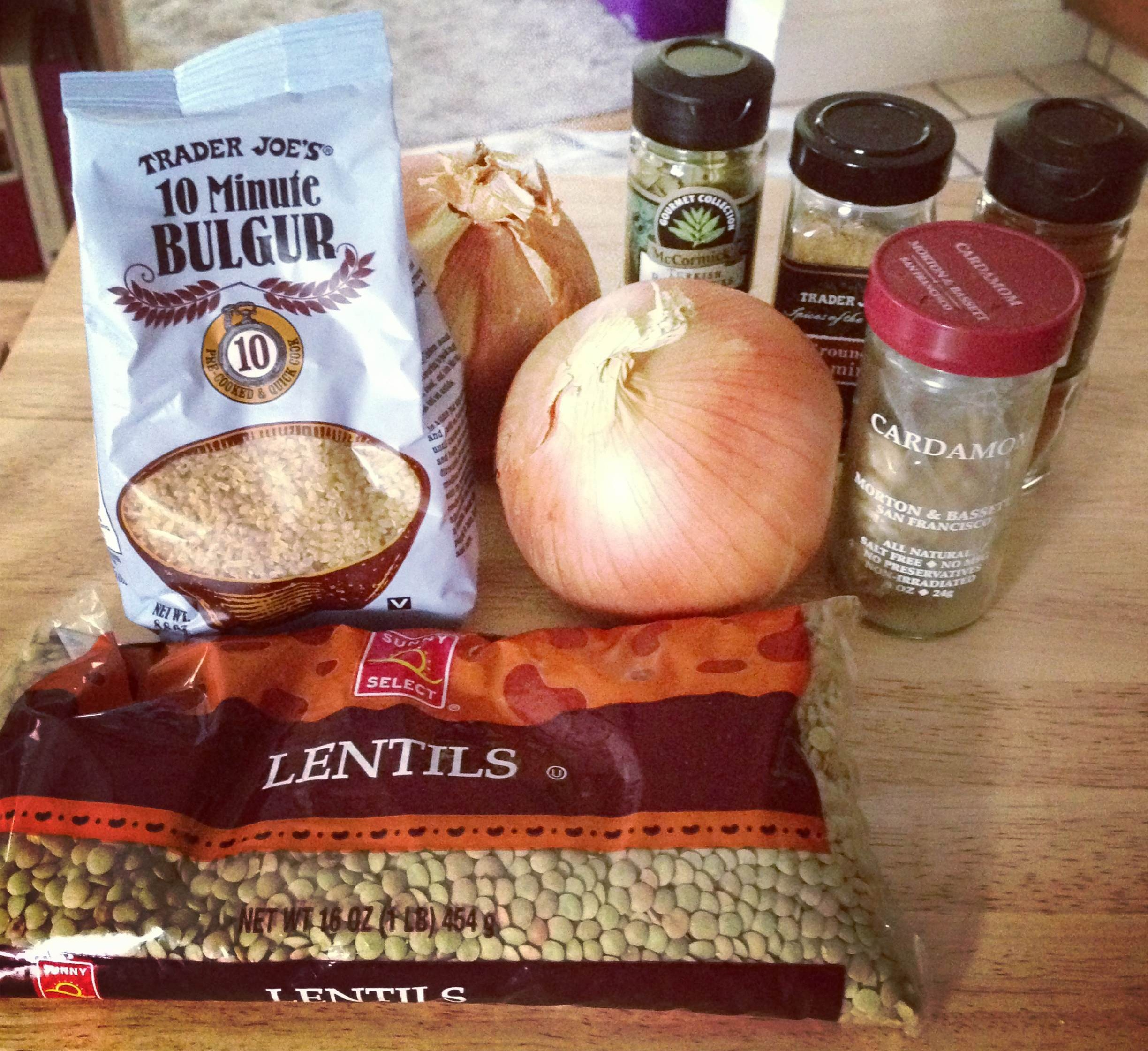 Ingredients for Lentil and Bulgur Pilaf with Caramelized Onion