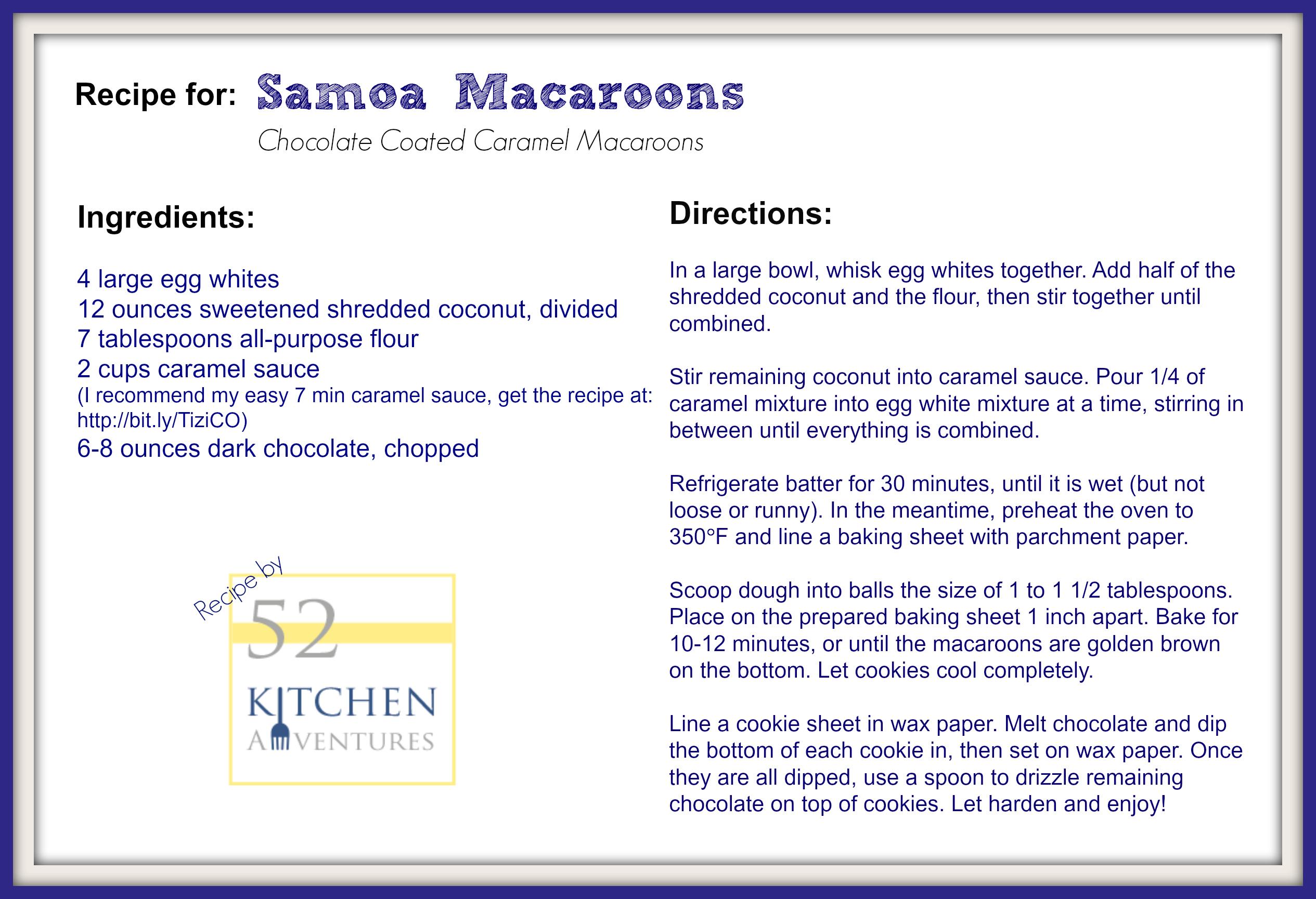 Samoa Macaroons Recipe Card