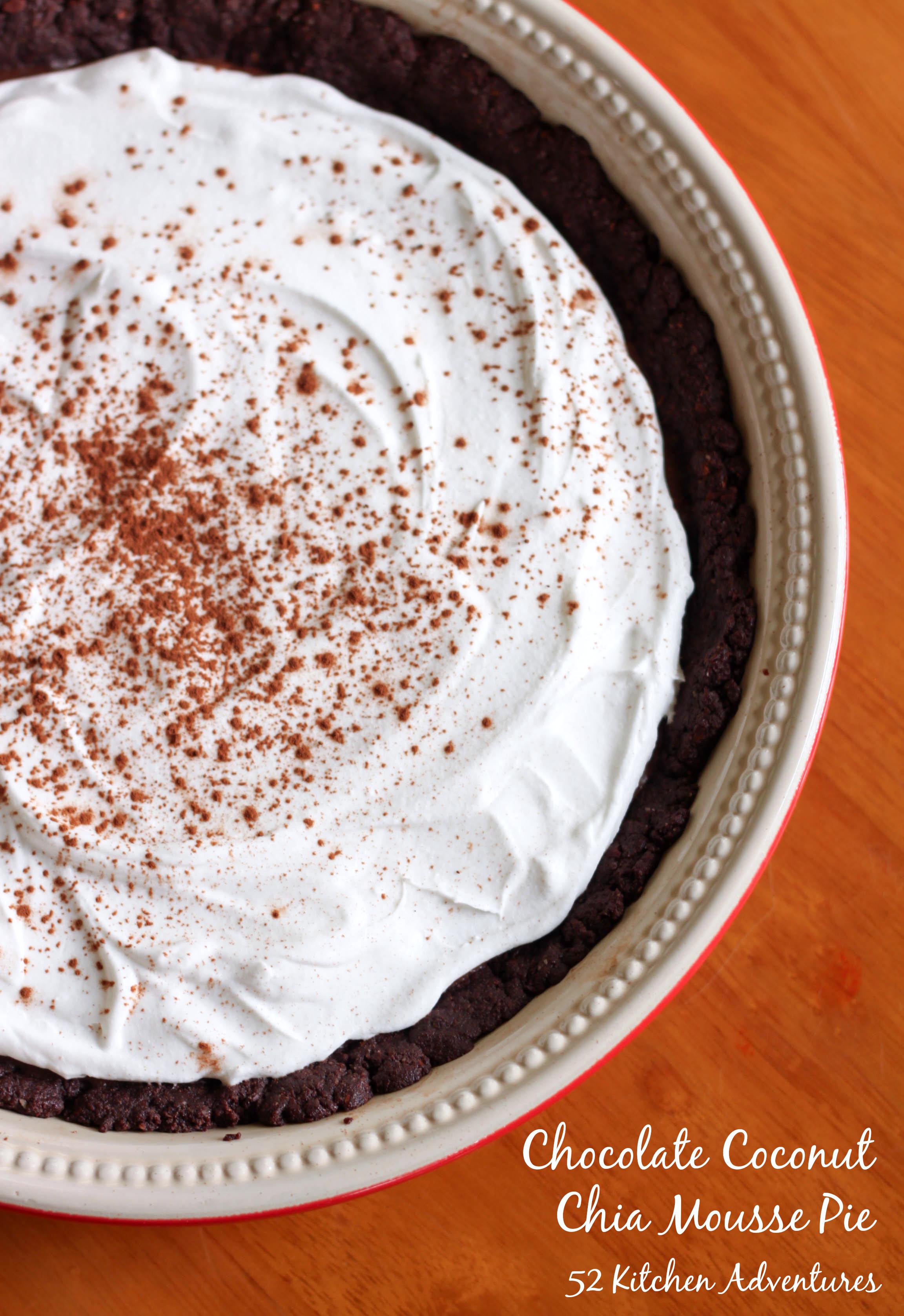 Chocolate Coconut Chia Mousse Pie