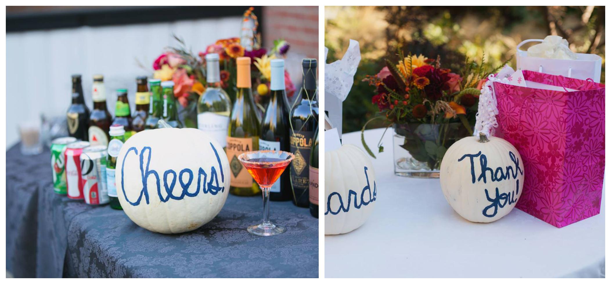 White pumpkin wedding signs