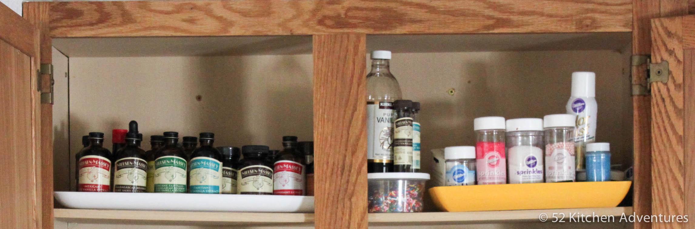 Use trays to organize baking supplies